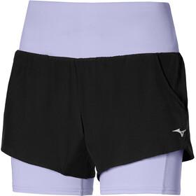 Mizuno 4.5 Pantaloncini 2in1 Donna, nero/viola